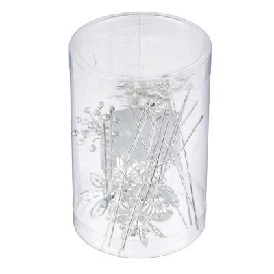 """323-099 Шпилька для волос, металл, стекло, 7 см, 5 дизайнов, """"Свадебная"""""""