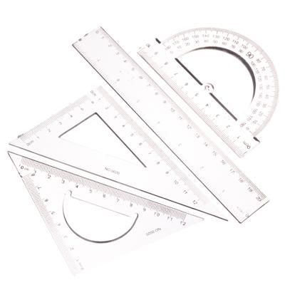 526-104 Набор чертежный прозрачный (линейка 20см, два треугольника 15см, транспортир)