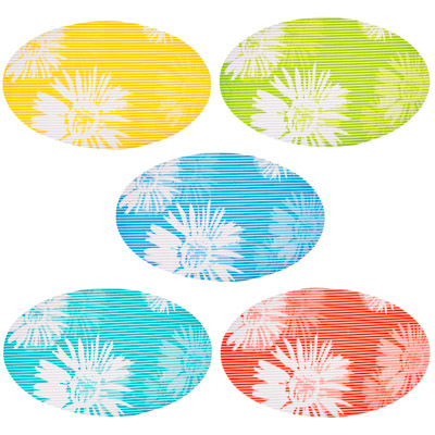 """462-444 VETTA Коврик в ванну противоскользящий, ПВХ, овал, 42x70см, """"Ромашки"""", 5 цветов"""