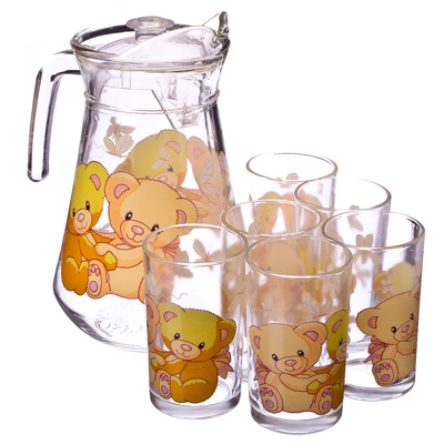 "878-008 VETTA Набор 7 пр. (стаканы 6шт 220мл, кувшин 1,5л), стекло ""Мишки"""
