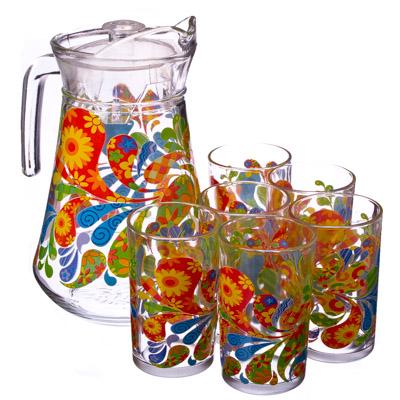 "878-009 VETTA Набор 7 пр. (стаканы 6шт 220мл, кувшин 1,5л), стекло ""Узоры"""