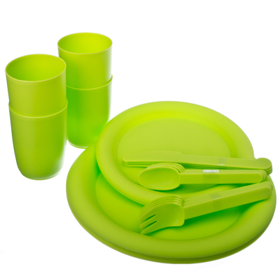 893-002 Набор посуды для пикника 24 пр. пластик, в сумке, R607-1