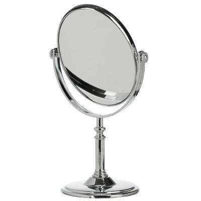 347-022 Зеркало настольное круглое, пластик, 17,5х29х10 см, серебро