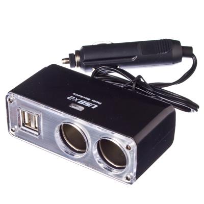 768-273 NEW GALAXY Разветвитель прикуривателя 2 гнезда + 2 USB, 3,1A