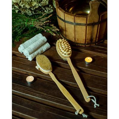 361-028 Щетка для тела двойная с натур. щетиной и массажером на цельной деревянной ручке, 42см