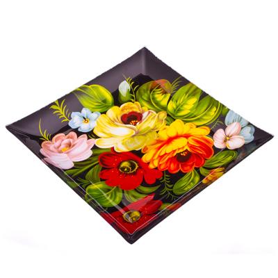877-073 VETTA Жостово Блюдо квадратное стекло, 25,4см, S3110