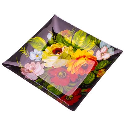877-079 VETTA Жостово Блюдо квадратное стекло, 20,3cм S3108