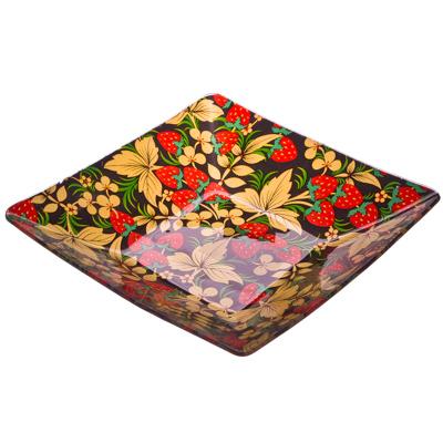 877-090 VETTA Хохломские узоры Салатник квадратный стекло, 20,3см, S312008N