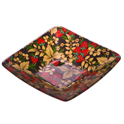 877-102 VETTA Хохломские узоры Салатник квадратный стекло, 12,7см, S312005N