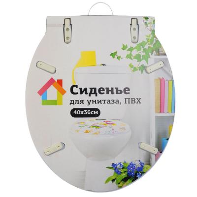 """571-133 Сиденье для унитаза ПВХ, 40x36см, """"Цветочки"""""""