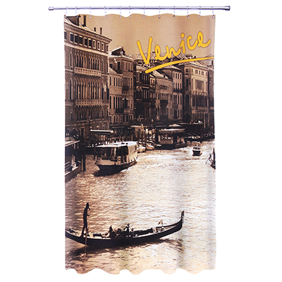 """461-296 VETTA Шторка для ванной, ткань полиэстер с утяжелит, 180x180cм, фотопечать, """"Венеция"""""""