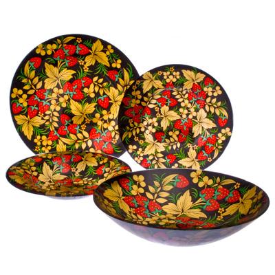 830-043 VETTA Хохломские узоры Набор столовой посуды 19 пр. стекло S3000/19-GC001