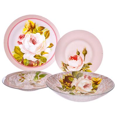 830-103 VETTA Нежные розы Набор столовой посуды 19 пр. стекло S3000/19