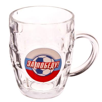 """879-020 Кружка для пива стеклянная 500мл, """"Футбол"""""""