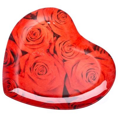 """877-134 VETTA Блюдо стекло, 30,5см, """"Сердце Красные розы"""", L215"""
