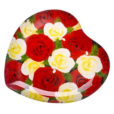 """877-135 VETTA Блюдо стекло, 25,4см, """"Сердце Садовые розы"""", L213"""
