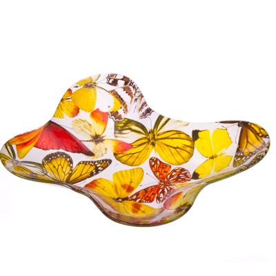 "877-158 VETTA Салатник стекло, 25,4см, ""Луговые мотыльки"", L204"