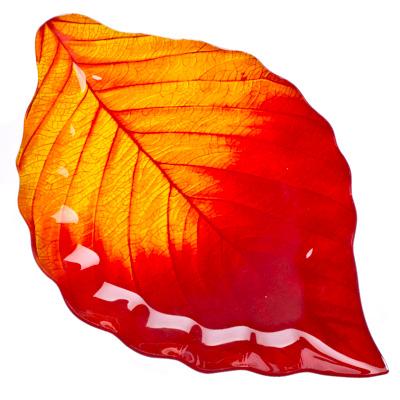 """877-184 VETTA Блюдо стекло, 35,5см, """"Осенний лист"""", L210"""