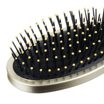 356-089 Расческа массажная, пластик, 24 см, золото металлик