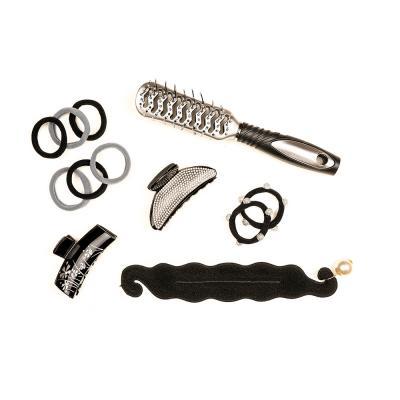 356-137 Расческа массажная двусторонняя, пластик, 23 см, черно-серый