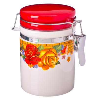 824-309 Золотая роза Банка для сыпучих продуктов с металл. зажимом 7,5х10см, керамика