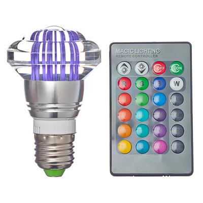 935-038 Лампа на дистанционном управлении, пластик, 10см, меняет цвет, цоколь Е27, 3W, FR-1