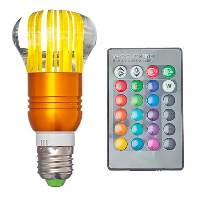 935-039 Лампа на дистанционном управлении, пластик, 12см, меняет цвет, цоколь Е27, 3W, FR-2