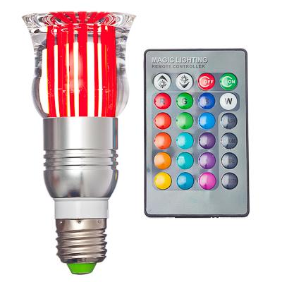 935-040 Лампа на дистанционном управлении, пластик, 12см, меняет цвет, цоколь Е27, 3W, FR-3