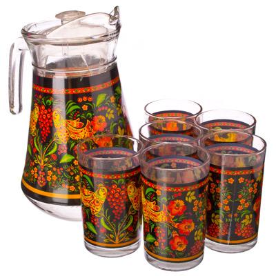 """878-036 VETTA Набор 7 пр. (стаканы 6шт 220мл, кувшин 1,5л), стекло, """"Хохлома"""""""