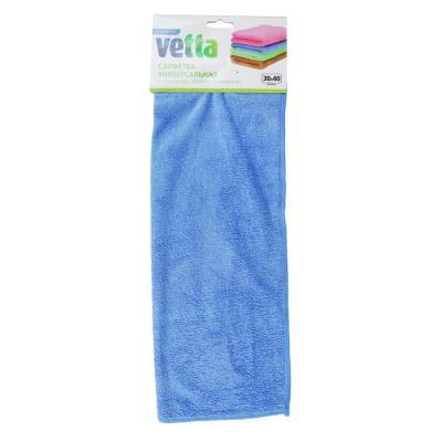448-165 Салфетка махровая, универсальная из микрофибры, 30х40 см,  4 цвета, VETTA