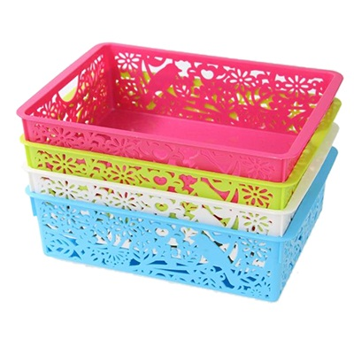 406-034 Корзина-подставка, пластик, 29,5х20х8см, 4 цвета