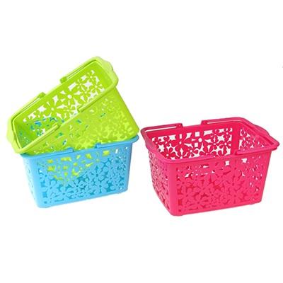406-040 Корзина-подставка с ручками, пластик, 25,5х19х13 см, 3 цвета