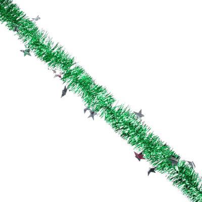 377-246 СНОУ БУМ Мишура из фольги, 200x10см, со звездами, 4 цвета, SYDT-118