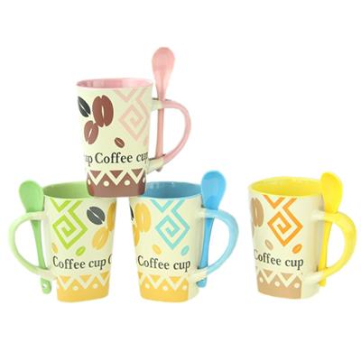 """806-743 Кружка с ложкой костяной фрф NBC, 300мл, """"Сoffee cup"""" , 4 цвета, подар. упак"""