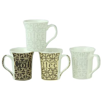 "806-749 Кружка 300мл, костяной фрф NBC, ""Coffee graphic"", 4 дизайна"