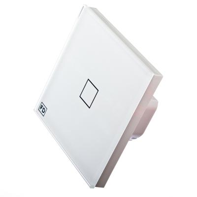 904-063 FDelectonics Выключатель сенсорный одинарный белый, стекло, пластик, KG-020CL