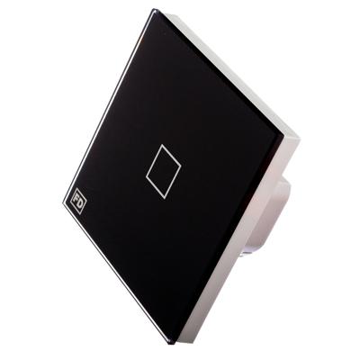 904-065 FDelectonics Выключатель сенсорный одинарный черный, стекло, пластик,KG-020BL