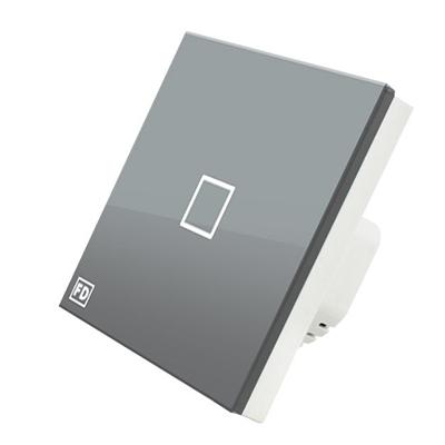 904-066 FDelectonics Выключатель сенсорный одинарный серый, стекло, пластик, KG-020CS