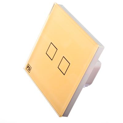 904-068 FDelectonics Выключатель сенсорный двухклавишный бежевый, стекло, пластик, KG-021VI