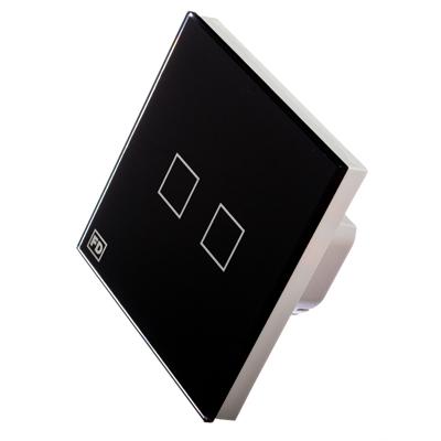 904-069 FDelectonics Выключатель сенсорный двухклавишный черный, стекло, пластик, KG-021BL