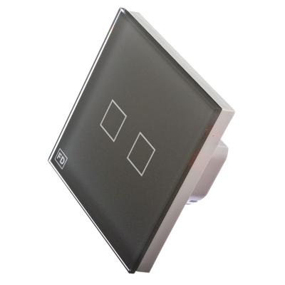 904-070 FDelectonics Выключатель сенсорный двухклавишный серый, стекло, пластик, KG-021CS