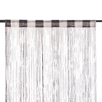 491-284 Занавеска нитяная, полиэстер, 1x2м, с блестками, 2-х цвет., черный, белый