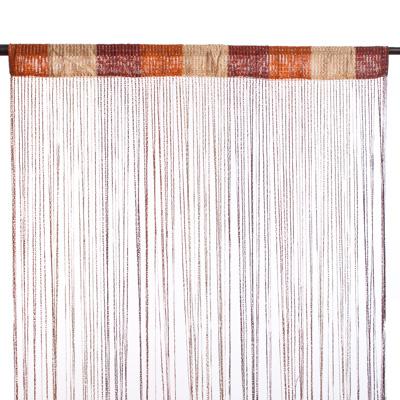 491-285 Занавеска нитяная, полиэстер, 1x2м, с блестками, 3-х цвет., кофейн, шоколадн., белый