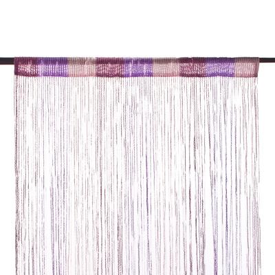 491-286 Занавеска нитяная, полиэстер, 1x2м, с блестками, 3-х цвет., фиолет., сирен., белый