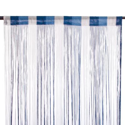 491-296 Занавеска нитяная, полиэстер, 1x2м, широкая, 3-х цвет., синий, голубой, белый