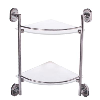 568-143 Полка для ванной комнаты угловая, двойная 25x25см, стекло, 8107-2 8100