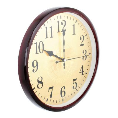 581-453 Часы настенные золотые, плавный ход, пластик, d29,5см, 1хАА