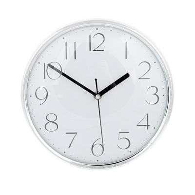 "581-460 Часы настенные, пластик, 25см, 1хАА, серебро, ""Металлик"""