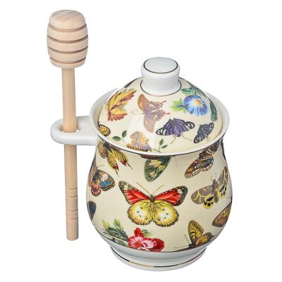821-243 FARFALLE Кристиан Банка для меда с деревянной ложечкой, 340мл, костяной фарфор