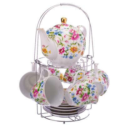821-265 Летнее цветение Набор чайный 13 пр. с чайником на металлической подставке, 220мл, фарфор